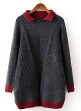 Grey Contrast Trims Long Sleeve Cable Knit Sweater