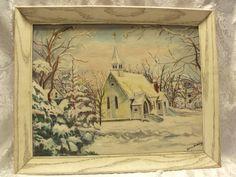 Vintage oil painting on board