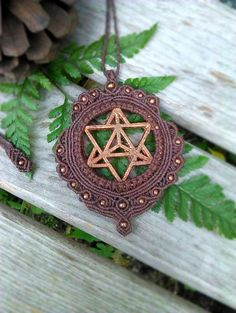 Excluded from Earth Day sale - Electroformed Lasercut Copper Macrame Necklace | Star Tetrahedron Sacred Geometry Hemp Jewelry | Organic