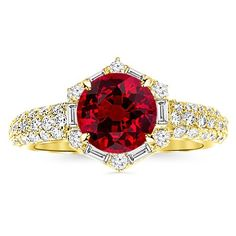 1.55 Carat Vintage/Antique Baguette and Round Halo Hexagon Diamond Engagement Ring 14K Yellow Gold with a 1 Carat Round Cut AA Quality Ruby Houston Diamond District