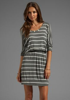 SPLENDID Short Sleeve Striped Mini Dress in Steel - Fall Closet Essentials