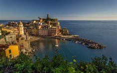 Download wallpapers Vernazza, Ligurian Sea, resort, little town, sunset, seascape, Mediterranean Sea, Liguria, Cinque Terre, Italy