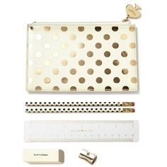 Kate Spade Gold Dot Pencil Pouch (9.865 HUF) ❤ liked on Polyvore featuring home, home decor, office accessories, gold pencils, polka dot pen, polka dot pencil case, gold pen and gold pencil case