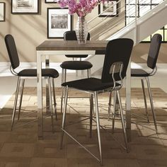 Silvertorre Chrome Modern Deign 5-piece Counter Height Dining Set (1 Table, 4 Chairs), Black, Size 5-Piece Sets