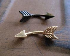 Arrow Belly Button Jewelry Ring- 14 Gauge Eyebrow Conch Snug Ear Eye Brow Piercing Navel Bar Barbell 14g G Stud Black Gold Rook Brow Eyebrow