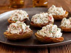 Crab Salad Stuffed Potato Skins.