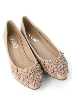3D Floral Beads Flat Shoes in Nude Pink - Retro, Indie and Unique Fashion