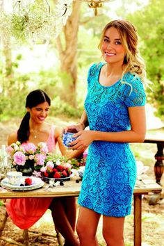 LC Lauren Conrad Blue Lace Summer Dress. Love the color, the lace,  the sleeves