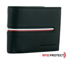 Tommy Hilfiger, Continental Wallet, Zip Around Wallet, Coins, Card Holder, Black, Blue And White, Pocket Wallet, Branding