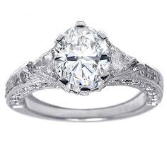 Oval Diamond Vintage Pave Engagement Ring Trillion accents