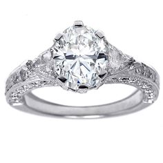 Oval Diamond Vintage Pave Engagement Ring Trillion accents in 14K White Gold 1.10 tcw.