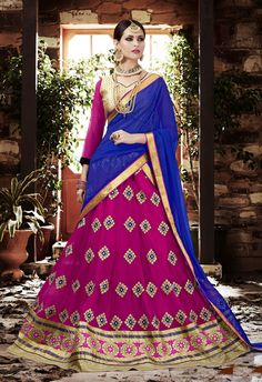 Pink and Copper Georgette Lehenga.