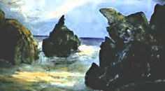 'Rocky beach (Fort Bragg)' Acrylic on canvas Inexpensive matted and framed prints available