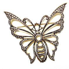 Art Deco Jewelry Brooch Rhinestone Butterfly by silvermoonstars