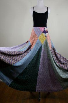 1970s India Cotton Patchwork Maxi Skirt Boho Hippie by YaYaRetro