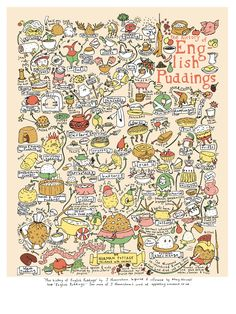 Prepare to be amazed by the scale and intricacy of this cute, convoluted history of English puddings. #infographic