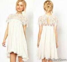 White Wedding Dress Prom Short Mini Casual Summer Boho Hippie Chic 2014 Fashion Trendy Outfit crochet backless chiffon leaf leaves keyhole