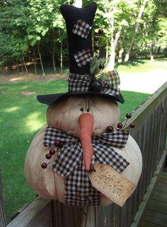 FOLK Art PrimiTive ChrisTmas Holiday WinTer PumpKin SNOWMAN DOLL DecoraTion Tag #Primitive #MelissaHarmon