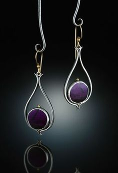 Sugilite Earrings. Fabricated Sterling Silver, 14k  18k. http://www.amybuettner.com