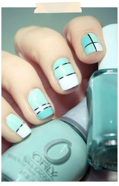 nails Essie nail polish in Pretty Edgy nails geometric mint nails Fancy Nails, Love Nails, Pretty Nails, Style Nails, Classy Nails, Do It Yourself Nails, Mint Nails, White Nails, Blue Nail
