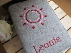 Weiteres - Gotteslob - Hülle aus Wollfilz - grau / rot-rosa - ein Designerstück von JuniEngel- bei DaWanda