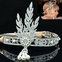 Clear Rhinestone with Ribbon Flower Tiara Crown for The Great Gatsby Party – USD $ 23.99