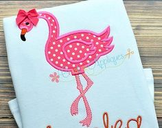 Flamingo Digital Machine Embroidery Applique Design 4 sizes