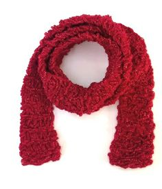 #Red Sparkle #Valentine Hand #Knit Handmade Scarf | joysazplace - Accessories on ArtFire