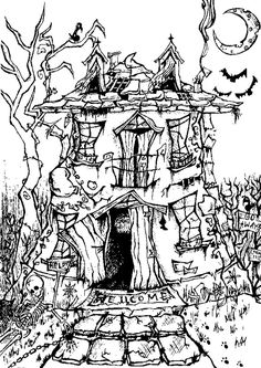 Adult coloring page Halloween : Manor house Halloween 8