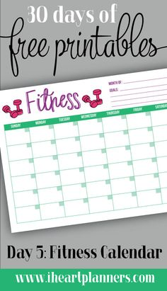 Free Printable: Fitness Tracker Calendar