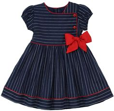 Marakitas Toddler & Girl Nautical Sailor Stripped Dress – Princess Holiday Party Special Occasion (Navy Blue, 12 Months)