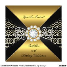 Gold Black Diamond Jewel Damask Birthday Party 5.25x5.25 Square Paper Invitation Card