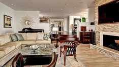 Perfect for an evening in: The entertainment area has a fireplace and a big screen televis...