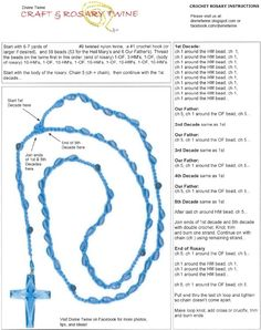 Crochet twine and bead rosary instructions. Works best with twine. Crochet Cross, Thread Crochet, Crochet Motif, Crochet Doilies, Crochet Yarn, Crochet Patterns, Filet Crochet, Crochet Classes, Crochet Projects