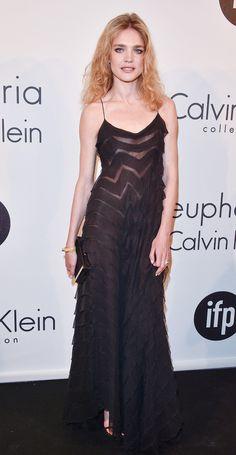 Natalia Vodiaonva in a Calvin Klein Collection dress attends the Calvin Klein Women In Film party.