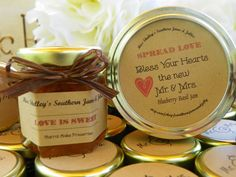 Spiced Apple Butter Wedding/Party Favors - 75 (1.5oz) jars - NEW Fall flavors - Your choice jam and ribbon with custom label