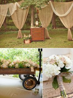 Love this idea with the burlap hanging around the reception area