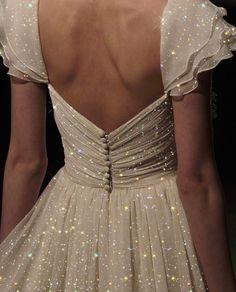 White, sparkly dress, elegant, back<br> Ball Dresses, Ball Gowns, Prom Dresses, Wedding Dresses, Sparkly Dresses, Sparkly Heels, Silver Heels, Quinceanera Dresses, Wedding Shoes