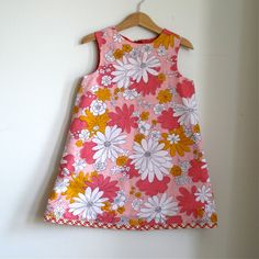 Toddler girls vintage peach flowers reversible button back dress - size 4T children's clothing. $50.00, via Etsy.