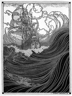 Illustration by Dugald Stewart Walker from Rainbow Gold: Poems Old and New for Boys and Girls Ink Illustrations, Illustration Art, Black And White Illustration, Design Graphique, Wood Engraving, White Art, Printmaking, Illustrators, Graphic Art