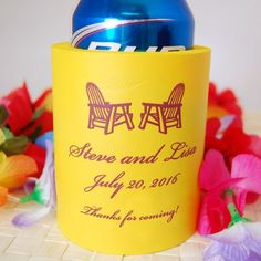 Personalized Wedding Koozie! Be sure to use the hashtag #beaucoupfavors when repinning!