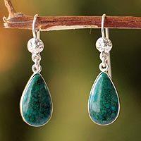 Chrysocolla dangle earrings, 'Inca Aesthetic' by NOVICA
