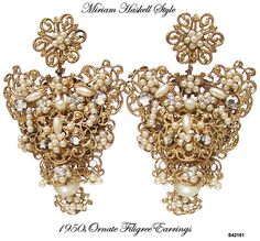 Miriam Haskell Style Gilt Pearl Earrings by AntiquingOnLine, $145.00