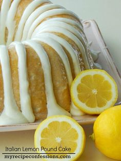 Italian Lemon Pound Cake Recipe ~ So delicious. It isn't the over powering mouth puckering lemon flavor like some desserts. It is so soft and moist. Lemon Desserts, Lemon Recipes, Sweet Recipes, Dessert Recipes, Italian Desserts, Easy Recipes, Popular Recipes, Food Cakes, Cupcake Cakes