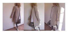 Womens Cable Knit Sweater, Knitted Merino Wool Cardigan, Many colors available. $360.00, via Etsy.