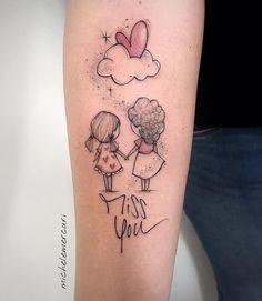 """Encontre o tatuador e a inspiração perfeita para fazer sua tattoo. Tattoo made by Michele Mercuri (mercuri_michele) from Italy. Mother and daughter holding hands with heart cloud and thin writing """"Mis Mommy Tattoos, Mother Tattoos, Family Tattoos, Wolf Tattoos, Sister Tattoos, Friend Tattoos, Cute Tattoos, Body Art Tattoos, New Tattoos"""