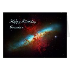 Happy Birthday Grandson - A Starburst Galaxy Card #zazzle HightonRidley