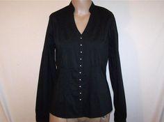 WORTHINGTON Sz 6 Shirt Top Blouse Black Stretch Pintuck Pleats Button Front NWT #Worthington #Blouse #Career