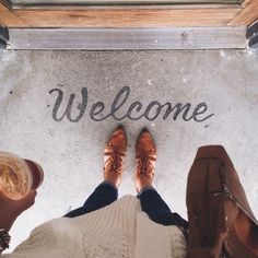 painted welcome on the front porch