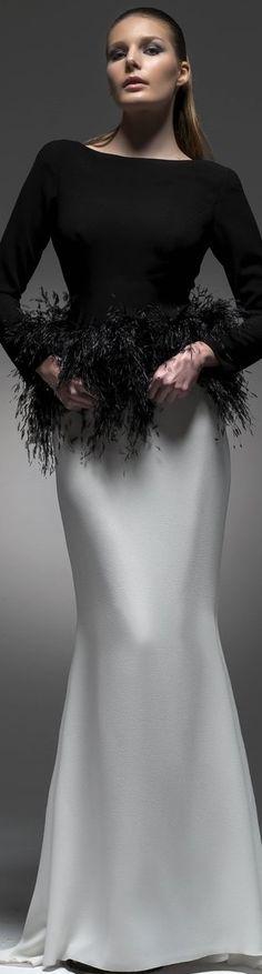 Isabel Sanchis ~ Black + Silver Grey Fitted Gown w Waist Fringe Details